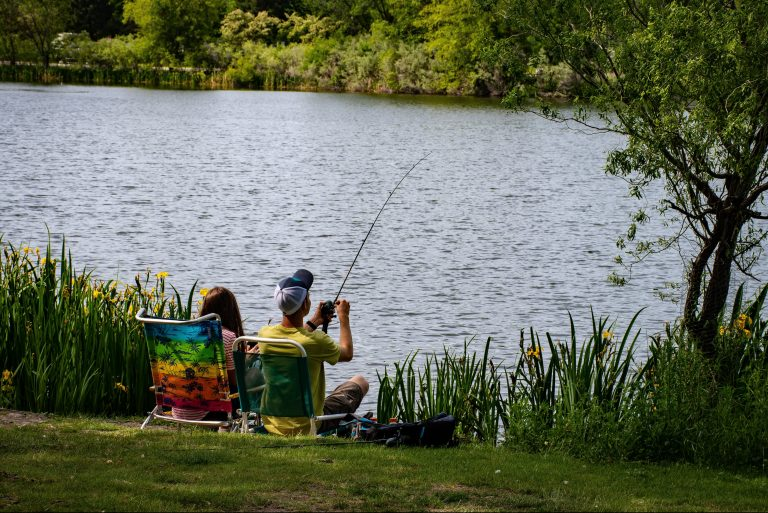 People fishing by the lake in summer