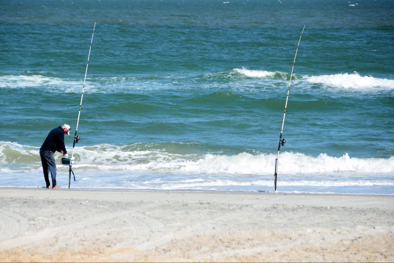 Person Fishing on the Beach with two Fishing Rods