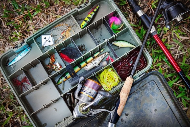 Fishing accessories with artificial baits and fishing rods
