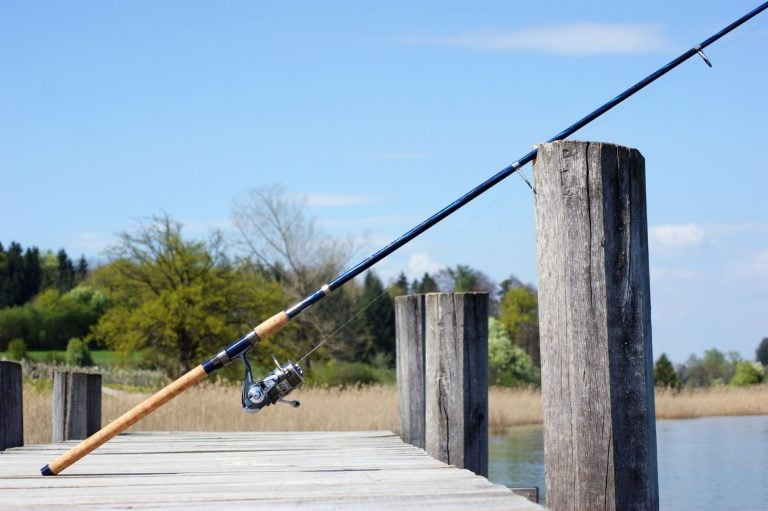 Spinning Rod Placed on a Dock
