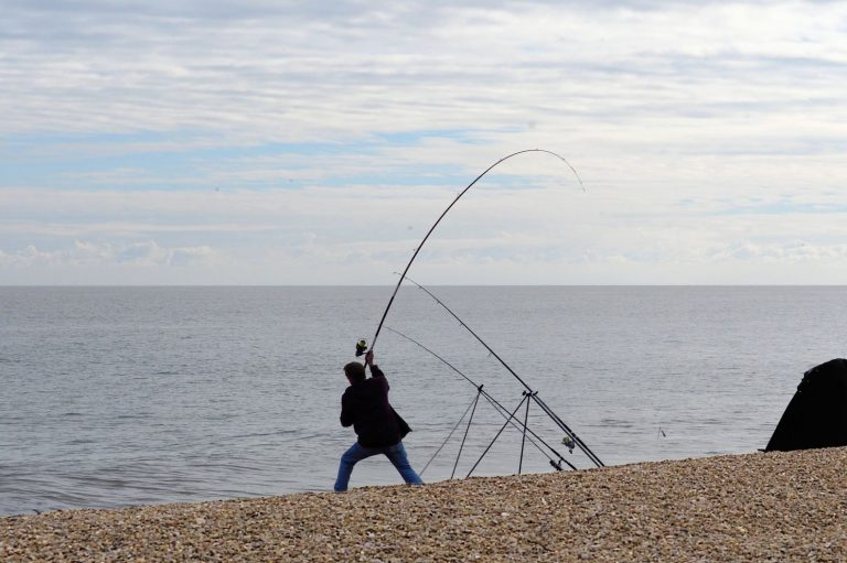 Fisherman Casting a Line on a Beach