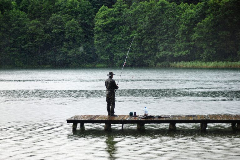 Man Fishing on a Dock