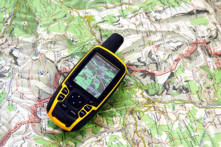 GPS Device Placed on Top of a Map