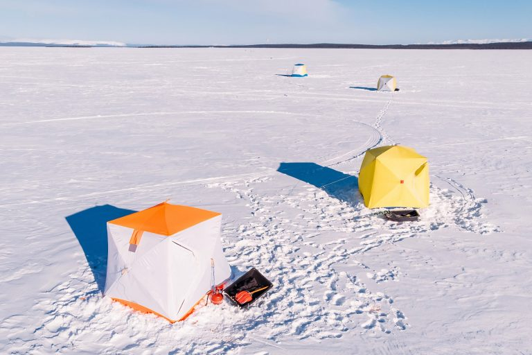 Ice Shelters on a Snowfield