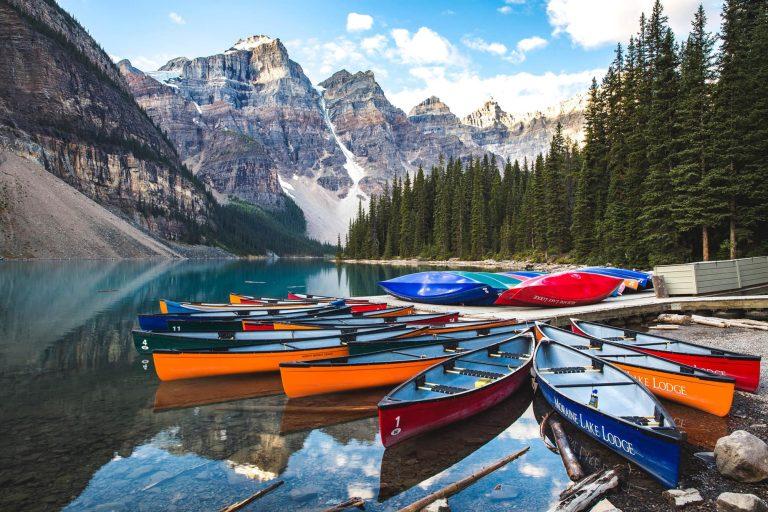Canoes at a Lodge