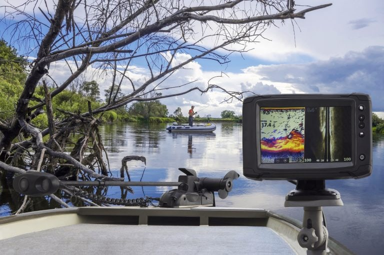 Fishfinder Mounted at the Back of a Boat