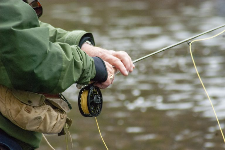 Fishing with a Fly Rod with Yellow Line