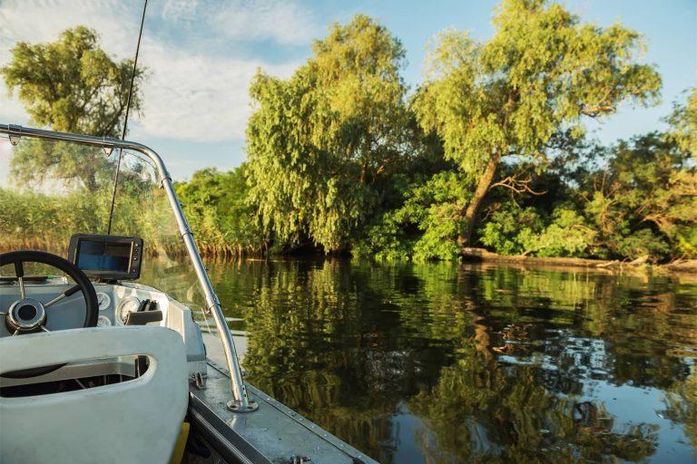 Small Boat Navigating Through a Marsh
