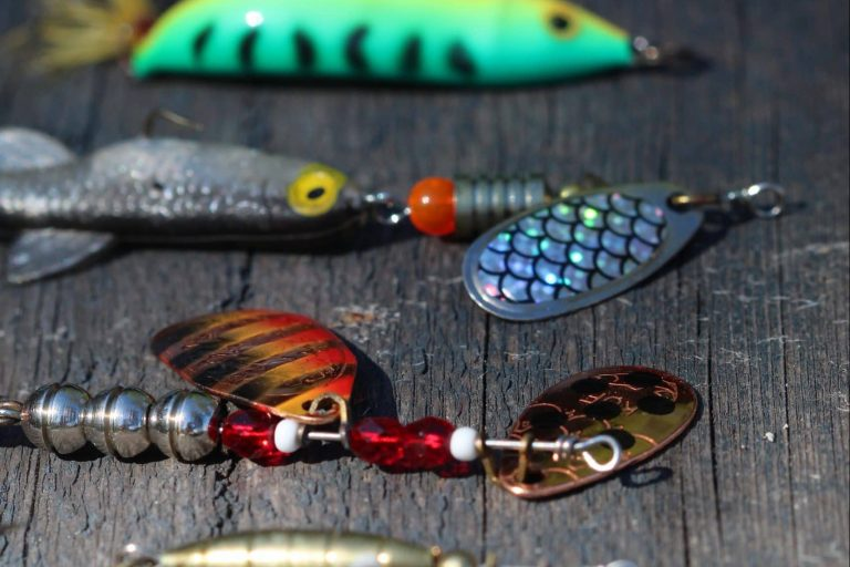 Different fishing lures in a line on a table